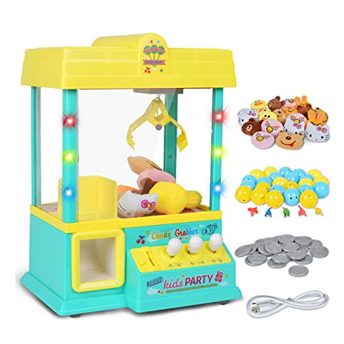 SYLTL Grabber Machine with Lights Music Mini Claw Machine for Kids Children As Gift Toy Candy Grabber,Beige