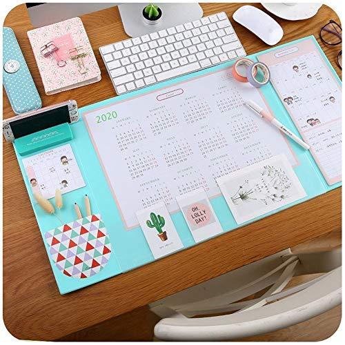 Multifunktionale Schreibtischunterlage, Aisakoc 25,6 '' x 12,6 '' Wasserdichte Schreibtisch-Mausunterlage-Matte mit Kalender 2019/2020, Telefon-Halter, Taschen und Planer-Karten (Blau)