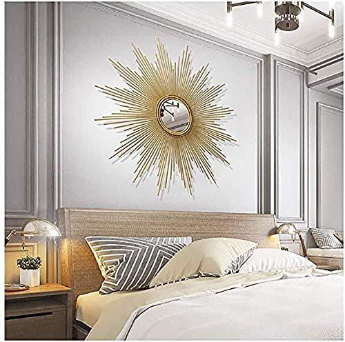 KSTORE Makeup mirror 3D Stereo Large Metal Decorative Sunburst Shape Wall Mirror,Gold, Living Room, Hallway Porch Starburst Shaped Hanging Mirror,Round Wall Mirror Decorative mirror,Gold,60cm