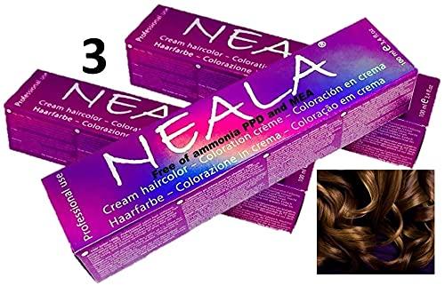 Pack 3 - Tintura professionale colorazione per capelli SENZA AMMONIACA, PPD o MEA - 5.07- CASTANO CHIARO CALDO - NEALA 3 x 100ml.