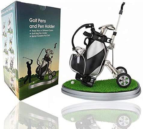 Amrta Golf Pen Set Mini Desktop Golfball Stift Geschenk,Golf Kugelschreiber und Flag Schreibwaren Dekorationen Für Golfer Fans Damen Herren Kinder (Golf cart-Black/White)