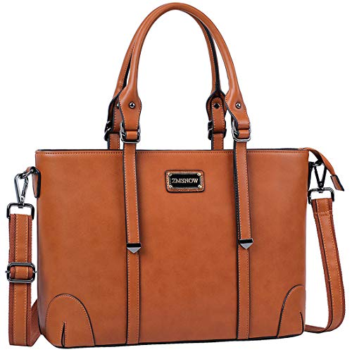 ZMSnow Laptop Bag,Work Tote Bag Fits Up to 15.6 Inch Laptop Tablet for Women Business Travel (brown)