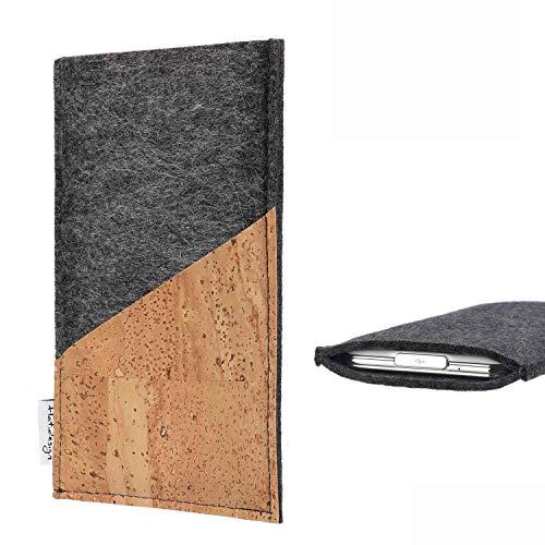 flat.design Handy Hülle Evora kompatibel mit Ruggear RG720 handgefertigte Handytasche Kork Filz Tasche Hülle fair dunkelgrau