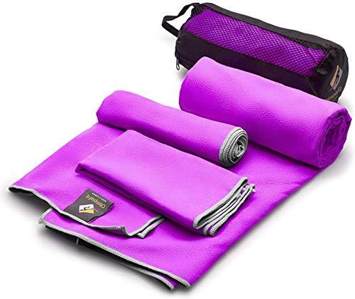 3 serviettes de taille au prix de 1 Super Pack Séchage rapide rapide Super Absorbant - Ultra Compact - Poids léger - Antimicrobien - Set de serviettes en microfibre - Meilleur pour Gym Voyage Camp