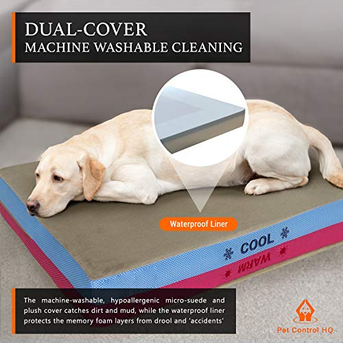Orthopedic Dog Bed Memory Foam, Therapeutic Flip 2-Side Cooling & Warming Rectangle for Aging & Large Breed Pets - Cozy, Waterproof & Washable Jumbo Doggie Luxury - Cama para Perros Grandes (Large)