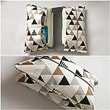 Wickeltasche, Windeltasche'to go' mit Dreiecken, grau, braun, schwarz, für 3-4 Windeln und Feuchttücher - handmade - Geschenk zur Geburt - sofort versandfertig