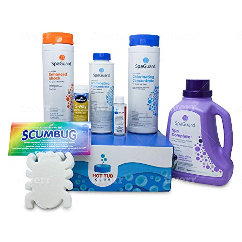 HotTubClub Deluxe Spa and Hot Tub Chemical Kit - Contains Scum Absorber, Test Strips, SpaGuard Spa Complete, Chlorinating Concentrate, Enhanced Shock and Stain and Scale Control (6 Items)