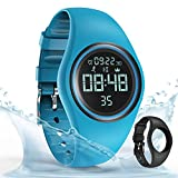 synwee Sports Fitness Tracker Watch, IP68 Waterproof, Non-Bluetooth, with Pedometer/Vibration Alarm Clock/Timer,for Kid Children Teen Boys Girls (Blue1)