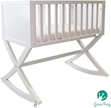 Green Frog, Allegro Cradle | Handcrafted Contemporary Wood Baby Cradle | Premium Pine Construction | Rocking and Stationary | Stark White Color