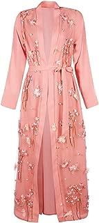 Kiar Muslim Women Lace 3D Flower Embroidery Dress Kimono Open Abaya Robe Kaftan Dubai