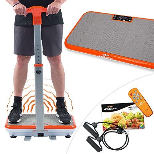 Mediashop VibroShaper – Fitness Vibrationsplatte unterstützt bei Muskelaufbau und Fettverbrennung – Vibrationstrainer für alle Muskelgruppen – inklusive Fitnessbänder – orange mit Griff - 10