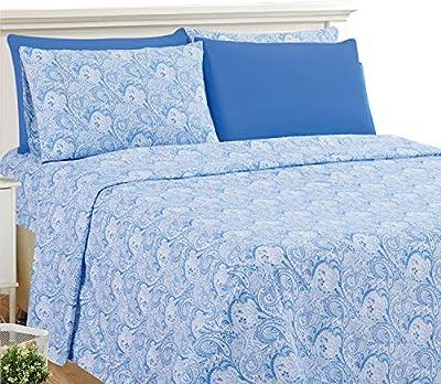 LDC King Bed Sheets Set - Brushed Microfiber 1800 Thread Count Bedding - Wrinkle, Stain, Fade Resistant - Deep Pocket King Size Sheets Set - 6 PC (King, White/Blue)