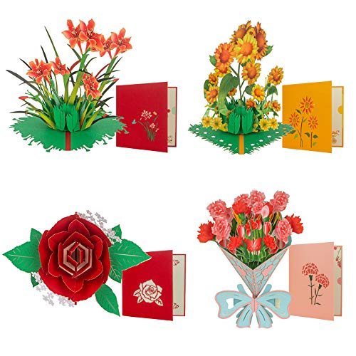 Pop Up Card, Mother's Day Cards, 4 Pieces Flower 3D Greetings Card, Thank You Card with Envelope Moms Cards for Valentine's Day Mother's Day Thanksgiving Day Birthday Anniversary Wedding