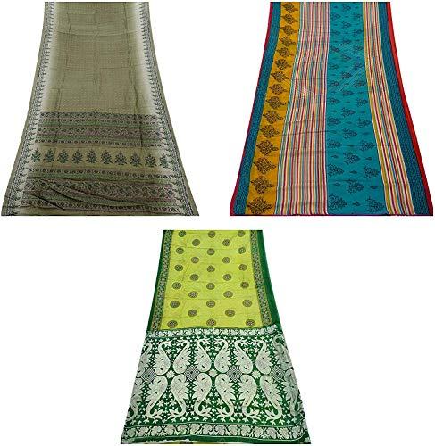 Peegli Hizo A Las Mujeres Indias Vintage Sari Lote De 3 Telas Multicolores Sari DIY