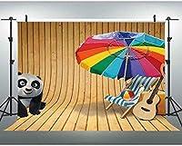 HD夏のテーマの背景木製の壁と床のパンダの子供の写真撮影の背景写真スタジオの小道具7x5Ft 113