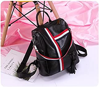 Leather New Women's Backpack Large-Capacity Fashion Wild Ribbon Multi-Function Backpack Waterproof (Color : Black, Size : M)