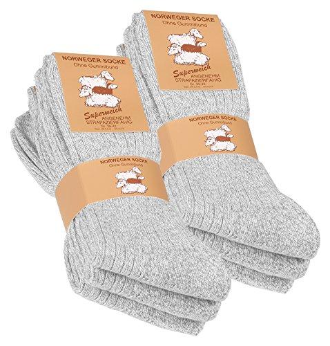 VCA Textil Lot de 6 paires de chaussettes norvégiennes - laine épaisse - semelle molletonnée - gris chiné (43/46, Gris)