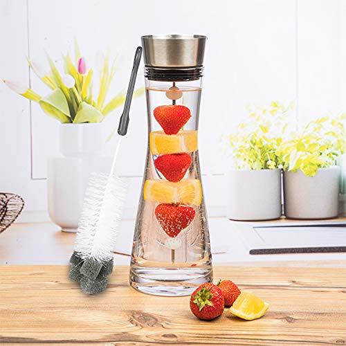Jarra de agua de cristal de 1 litro con tapa, dispensador de bebidas de acero inoxidable, incluye filtro con pincho para fruta y cepillo para botellas.