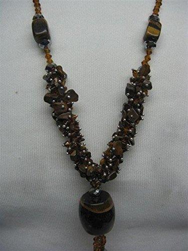 Natural mente – œil de tigre, collier, env. 65 cm, pierre naturelle, collier, chaîne, œil de tigre, n ° 1049