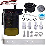 SPEEDWOW Oil Catch Can Tank Filter Baffled With Hose Kit Universal Black