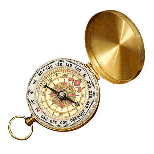 WINSTON-UK Kompass aus reinem Kupfer, tragbar, Vintage-Stil, Taschenuhr, multifunktional, fluoreszierend, Bergsteigen, Metallkompass, Navigation für Outdoor-Sport, Camping, Wandern
