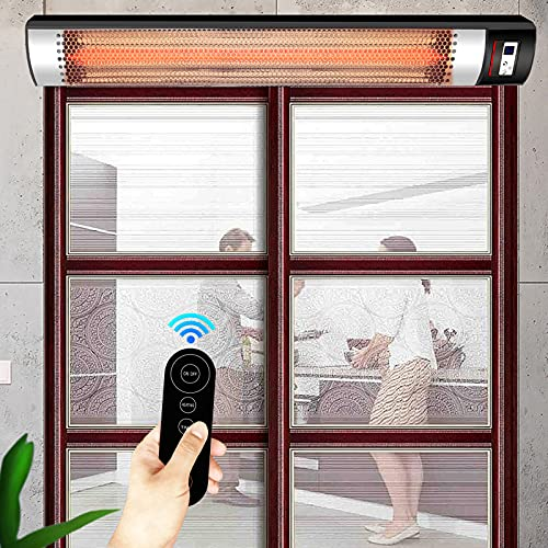 MINGJ Electric Patio Heater 2400w with Remote Control, Far Infrared Wall Mounted Heater, 3 Speed Heating, IPX65 Waterproof, for Outdoor Garden Terrace Tavern