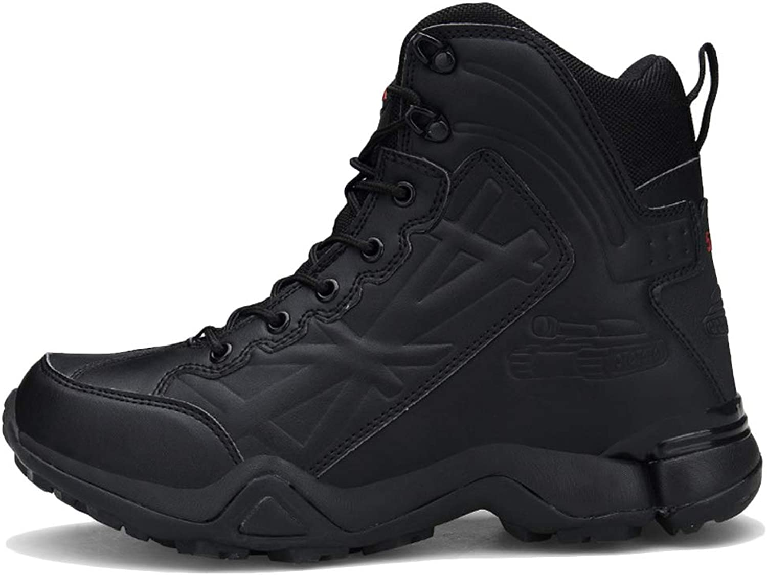 Men military boots Hiking tactical Desert Combat boots Trainers Suede Lace Up Climbing shoes Security Police Boots,Black-44