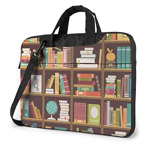 Bookshelf with Books Globes and Trophies 15.6 in Laptop Bag Computer Protective Cover Handbag Shoulder Bag
