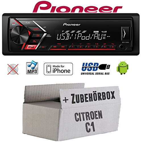 Autoradio Radio Pioneer MVH-S110UI - | MP3 | USB | Android | iPhone Einbauzubehör - Einbauset für Citroen C1 - JUST SOUND best choice for caraudio