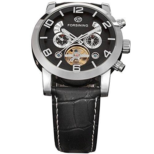 Forsining Men's Tourbillon Calendar Brand Automatic Movement Genuine Leather Strap Best Sales Wrist Watches FSG165M3S4