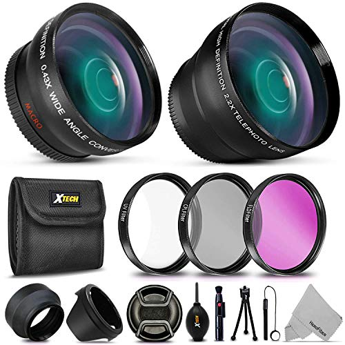 Essential 58mm Accessory Kit for Canon EOS Rebel T7i T7 T6i T6S T6 T5i T5 T3i SL2 SL1 EOS 90D 80D 77D 70D 60D EOS 9000D 800D 760D 750D 700D 1300D 1200D DSLR Cameras w/ 2X Telephoto/Wide Angle Lenses
