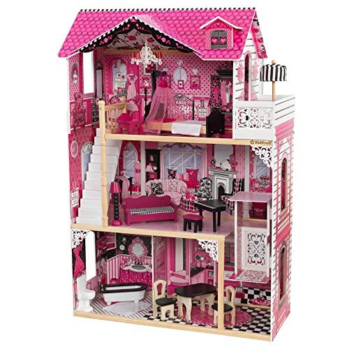 KidKraft 65093 Casa de muñecas de madera Amelia para muñecas de 30 cm con 15 accesorios incluidos y 3 niveles de juego