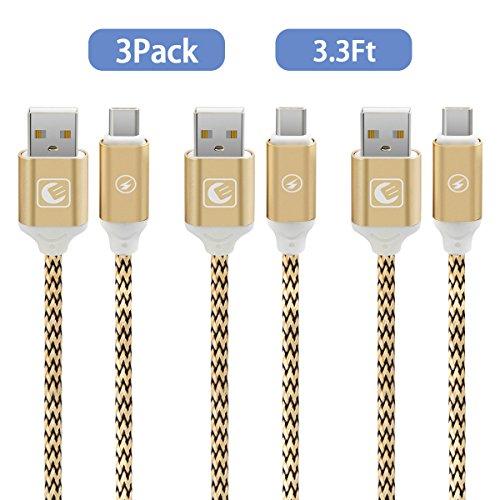 EMNT Cable Tipo C USB 3.0 Cable Trenzado de Nylon Tipo C-1m / 3.3ft–[Tipo C a Tipo A 3.0]–para el Nuevo Macbook Apple, Nexus 5X / 6P, OnePlus 2/3, Nintendo Switch, ChromeBook Pixely Más-Dorado