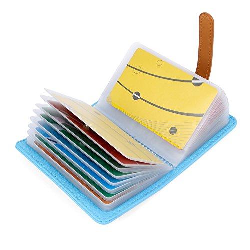 AltomStar 10 Farben Kreditkartenetui Damen Herren Kartenetui Leder - 26 Karten (Blau)