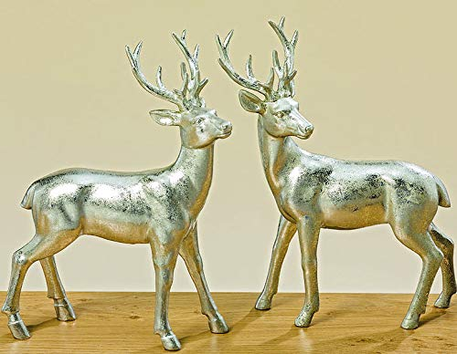 Steinfiguren Giessen Hirsch Paar STEHEND Silber antik H22cm 2er Set Dekoration Weihnachten Hirsch Hirsche Rehe VON DEKOWELT