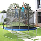 600 LBS Weight Capacity Trampoline 12 FT Outdoor Trampolines for Children and Adults , Safe Backyard Trampoline with Enclosure Net Ladder Pad Jumping Mat T-Hook Rain Cover, Including All Accessories
