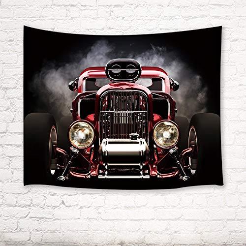 XURANFANG Oldtimer decor tapijt vintage American Hot Rod Roadster met rook achtergrond race kunst afbeeldingen muurkunst hangen 150 x 100 cm.