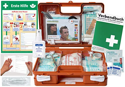 Verbandskoffer/Verbandskasten (K) Typ C -Paket 2- Erste Hilfe nach DIN 13157 für Betriebe -DSGVO- INKL. PERFORIERTEM VERBANDBUCH + Hände-Antisept-Spray & AUSHANG