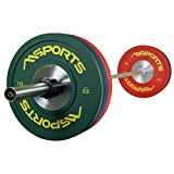 MSPORTS Olympia Set Professional Studio - Olympia Hantelstange mit Verschluss + 2 x 10 kg, 2 x 15 kg...