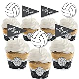 Bump, Set, Spike - Volleyball - Cupcake Decoration - Baby Shower or Birthday Party Cupcake Wrappers and Treat Picks Kit - Set of 24
