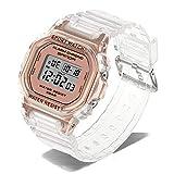 Moda deportiva las mujeres del reloj de la correa transparente LED Digital la hora de señoras reloj electrónico 30M impermeables relojes de pulsera casual de luz de fondo jianyou ( Color : Metallic )