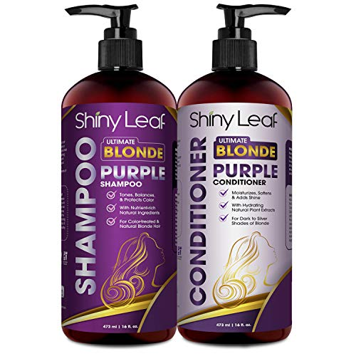 Shiny Leaf Ultimate Blonde Purple Shampoo and Conditioner – Sulfate and Paraben Free, Toning and Moisturizing for All Shades of Blonde and Bleached Hair – Enhances and Protects Color (2 x 16 fl. oz.)