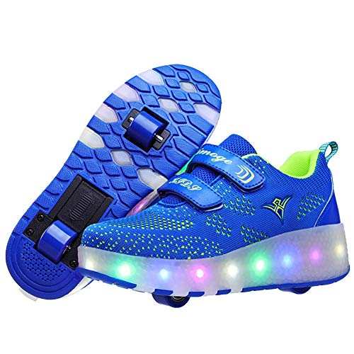 Charmstep Kinder Skateboard Schuhe Kinderschuhe mit Rollen LED Skate Rollen Schuhe USB Aufladbare Sportschuhe Laufschuhe Sneakers mit 2 Räder Jungen Mädchen,Blau,38EU