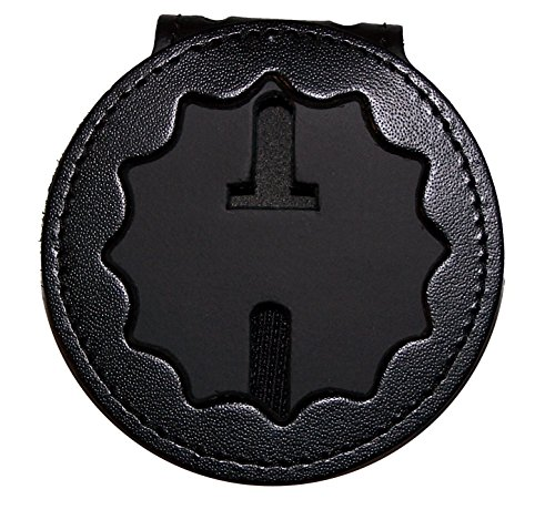 NYPD Lt or NY Dept of Corrections Belt Clip Badge Holder with Pocket and Chain (Cutout PF27, Height 2.2 inches)
