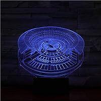 3D LED錯視ランプ 中国文化客家ラウンドハウスランプは、子供用のナイトライトランプとマルチカラーで動作します