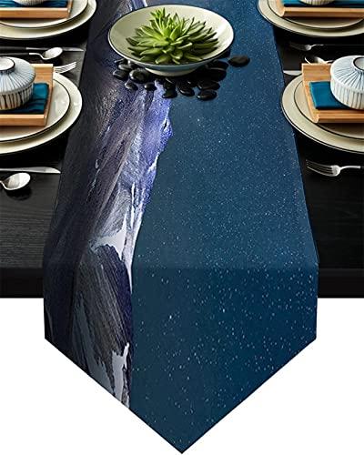 Chemin de table Alpes Snow Mountain Peaks Paysage Table Paysage Runner Table De Mariage Début Nappe Côte de Noël Décor de Noël pour la table à la maison Décoration (Couleur : M, Size : 41x183cm)
