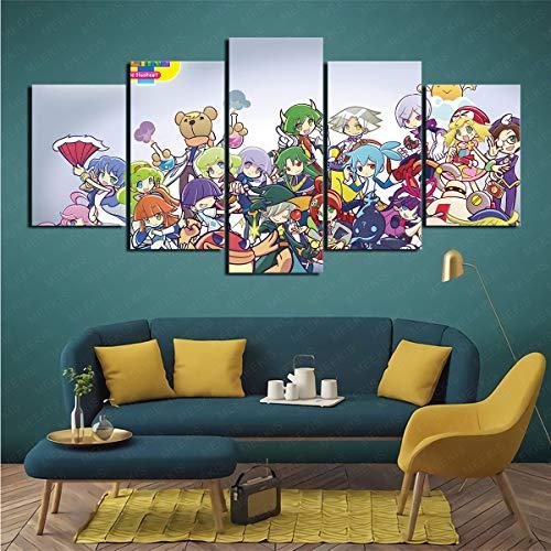 CJJCILEF Poster Artistico 5 Pezzi Pittura su Tela 3D Videogioco Puyo Puyo Tetris Shop Atmosfera 200x100cm Senza Cornice