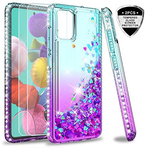 LeYi per Cover Samsung Galaxy A71 con Vetro Temperato[2 Pack],Brillantini Diamond Glitter Sabbie Mobili Custodia 3D Rigida Silicone Bumper per Custodie Samsung Galaxy A71 Turquoise Violet Gradient