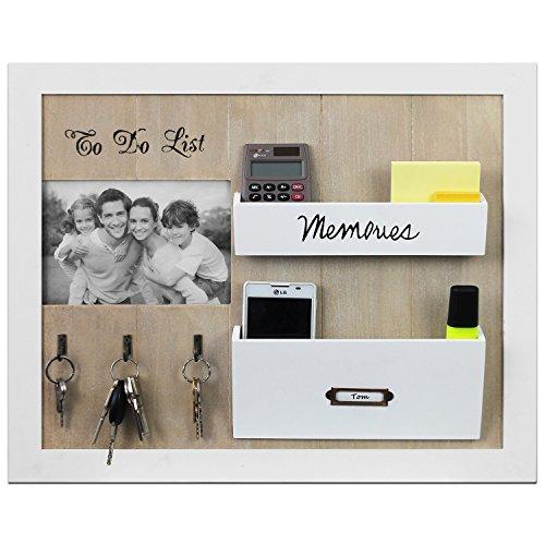 Wandorganizer mit Fotorahmen, Schlüsselbrett und Ablagen, 39x47x5cm, Weiß/Natur, Memoboard Memohalter Wandablage Wandboard