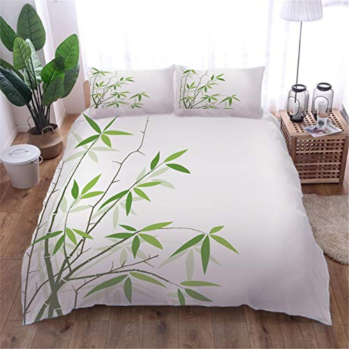 Duvet Cover bamboo with 2 Pillowcases 3D Printed Bedding Set Quilt Case Children Teens Microfibre Zipper Closure Adults Kids Single - 140x200cm